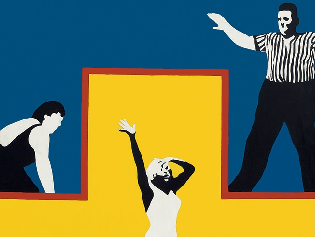 the Garth Greenan Gallery shows Rosalyn Drexler's 1965 painting The Winner (left) in the Survey sector.