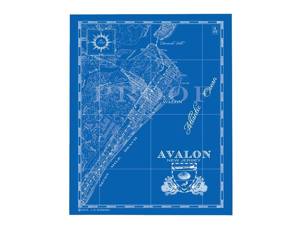 Avalon New Jersey Bank & Surf Map