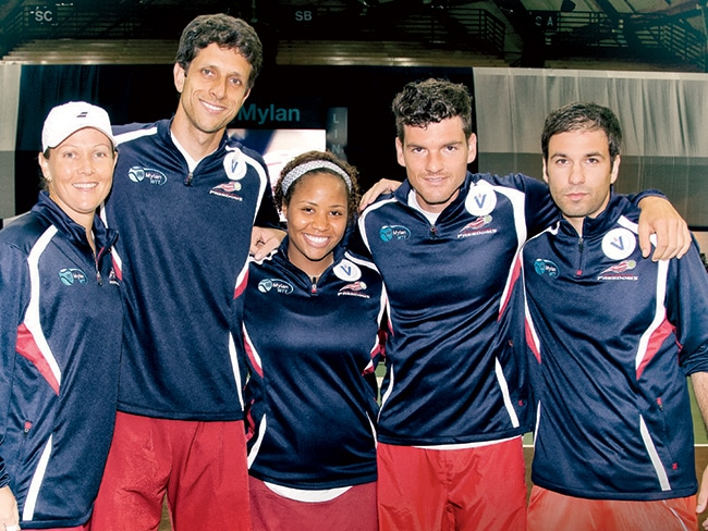 Liezel Huber, Marcelo Melo, Taylor Townsend, Frank Dancevic, and Josh Cohen, facing off against the Kastles in DC last year