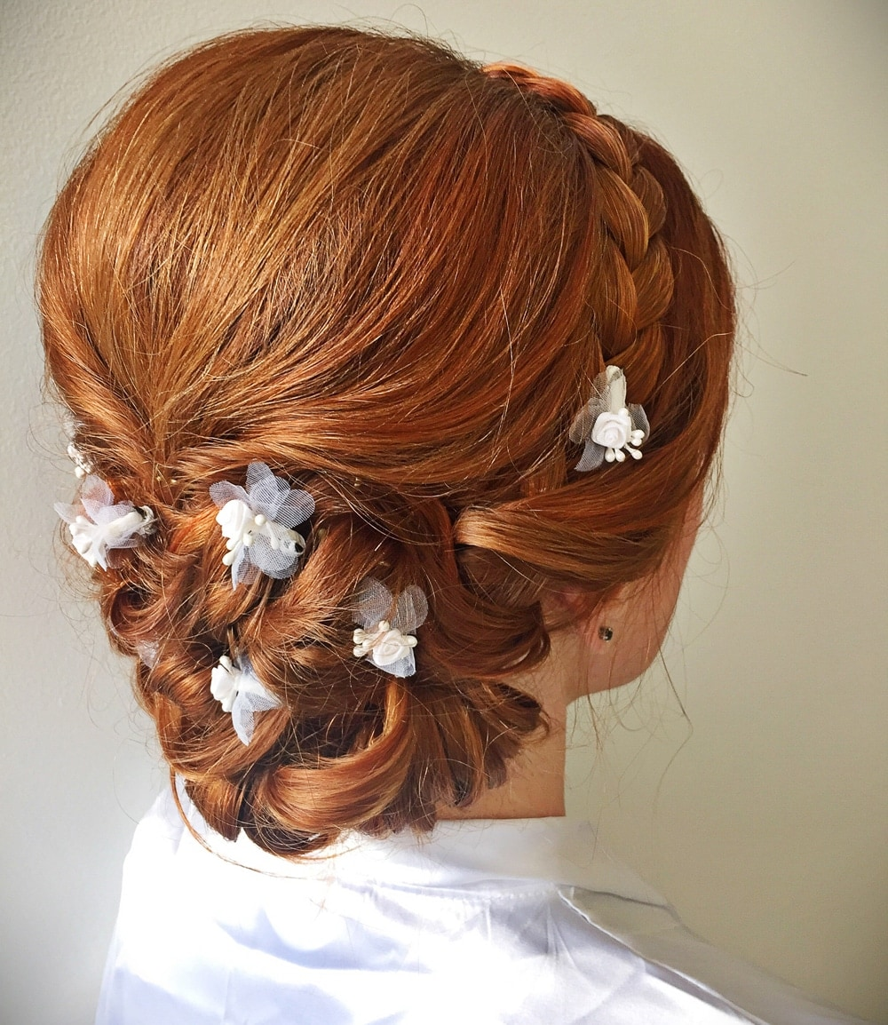 The ultimate guide to bridal hairstyles for brides bridesmaids guests calista grand flower accent braids junglespirit Choice Image