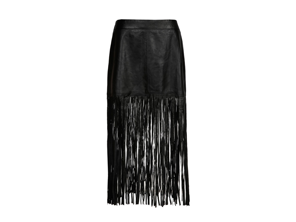 Essentiel Fringed Leather Skirt