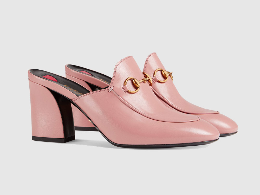 Gucci Princetown Pink Leather Mules.