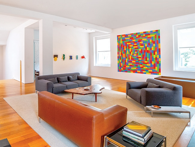 Gallery hopping: Work from some of the country's finest contemporary artists hangs throughout all five floors of Hank McNeil's home—except the Sol LeWitt pieces, which are drawn or painted directly onto the walls.
