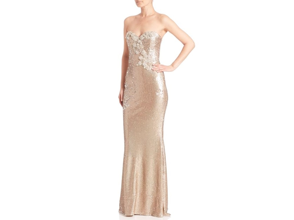 Marchesa Notte Strapless Sequin Gown
