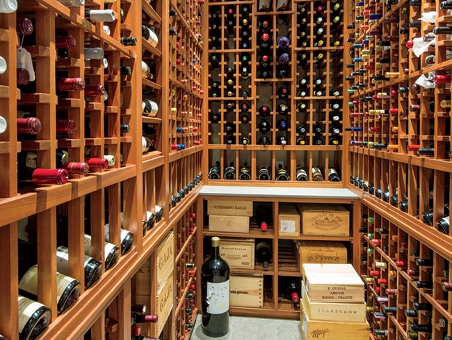 a 1,000-bottle wine closet is another custom addition