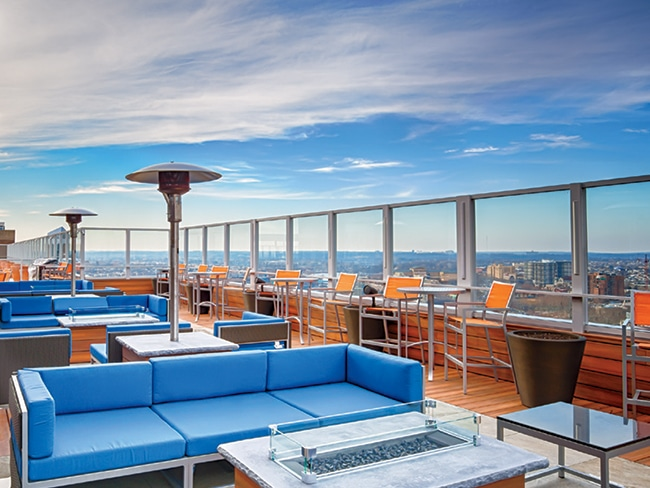 From its perch in the Market West District, The Sterling rooftop offers panoramic views of Rittenhouse Square and Center City on one side and University City on the other.