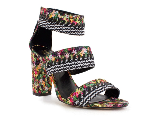 American designer NICOLE MILLER extends her one-of-akind, print-heavy aesthetic to accessories, like these Rio sandals ($160).