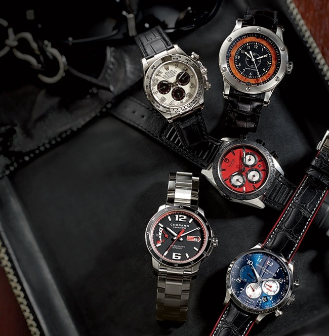 "<p>CLOCKWISE FROM TOP LEFT: From <a href=""http://rolex.com"" target=""_blank"">Rolex</a>, this 18k white-gold Oyster Perpetual Cosmograph Daytona watch ($26,650) recalls Florida racing lure. (The stainless-steel version has been the trophy winner of Le Mans and the Rolex 24 at Daytona.) The COSC-certified chronometer features a tachymeter scale for measuring speed and is powered by a high-performance chronograph movement. Bernie Robbins Jewelers, 595 Lancaster Ave., St. Davids, 610-971-2446</p> <p> This <a href=""http://ralphlaurenwatches.com"" target=""_blank"">Ralph Lauren</a> Sporting Automotive 45mm chronometer ($4,970) is crafted in stainless steel with a black alligator strap. The elm burl wood dial references vintage dashboards and has a black matte galvanic center. Benari Jewelers, 3606 West Chester Pike, Newtown Square, 610-355-1800; 299 Main St., Exton, 610-363-8450</p> <p> Inspired by Ducati motorcycles, this <a href=""http://tudorwatch.com"" target=""_blank"">Tudor</a> Fastrider chrono ($4,100) is crafted in stainless steel with a monobloc middle case and screw-down caseback and crown. Water-resistant to 50 meters, the watch features a rapid date change function and is powered by a self-winding mechanical movement. Govberg Jewelers, 1521 Walnut St., 215-546-6505</p> <p> Celebrating the 50th anniversary of the Shelby Cobra's FIA victory, <a href=""http://baume-et-mercier.com"" target=""_blank"">Baume & Mercier</a> unveils the automatic Capeland Cobra chronograph ($4,450), crafted in stainless steel with a dial in Shelby Guardsman Blue with barely visible racing stripes. The subdials resemble the dashboard of the 427 Cobra. Just 1,965 pieces of this watch will be made to honor the year of the win. Bernie Robbins Jewelers, 595 Lancaster Ave., St. Davids, 610-971-2446</p> <p> From <a href=""http://us.chopard.com"" target=""_blank"">Chopard</a>, this Mille Miglia GTS Power Control watch ($8,250) is crafted in steel and houses the brand's in-house self-winding Caliber 01.08-C, which is a COSC-certified chronometer. It has 60 hours of power reserve and offers hours, minutes, seconds, and stop-seconds function. Tourneau, King of Prussia Mall, 610-491-8801 </p>"
