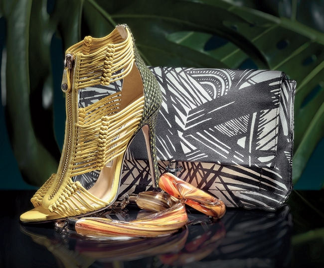 "Kattie sandal, <a href=""http://jimmychoo.com"" target=""_blank"">Jimmy Choo</a> ($1,575). Intermix, see above. Jack convertible clutch, Elizabeth and James ($345). Knit Wit, see above. Necklace ($1,150) and bracelet ($1,150), <a href=""http://ferragamo.com"" target=""_blank"">Salvatore Ferragamo</a>. King of Prussia Mall, 610-491-6810"
