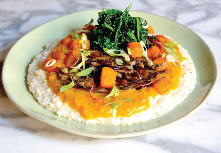 Mushrooms and grits are popular on the menu, which changes seasonally. PHOTO COURTESY OF PRIMARY PLANT BASED