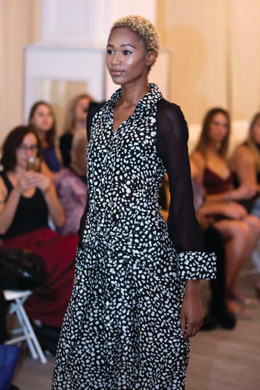 Black and white dress by Victoria Wright at Philly Fashion Week 2019 PHOTO BY: TAMAL FORCHION