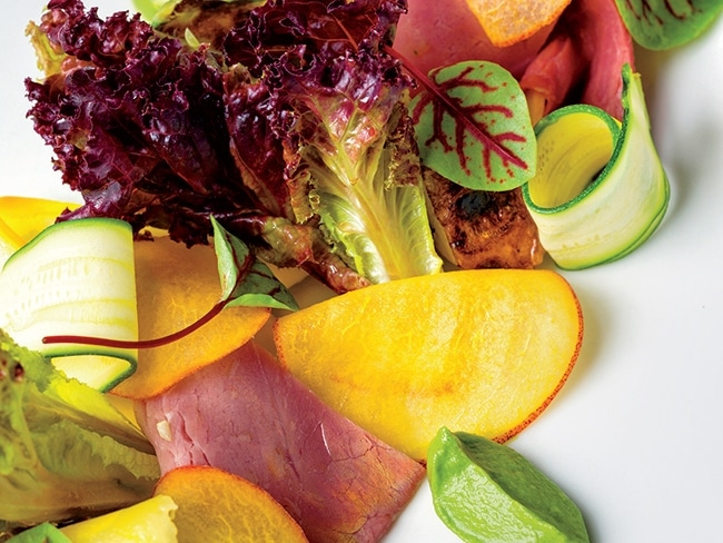 At Lacroix, even a simple salad, like this summer variety of peach, zucchini, and country ham, resembles a work of art.